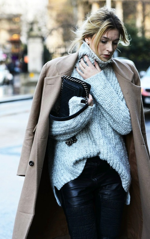 le-fashion-blog-street-style-blogger-camille-cherriere-camel-longline-coat-chunky-turtleneck-sweater-chanel-bag-black-moto-leather-pants-via-vogue