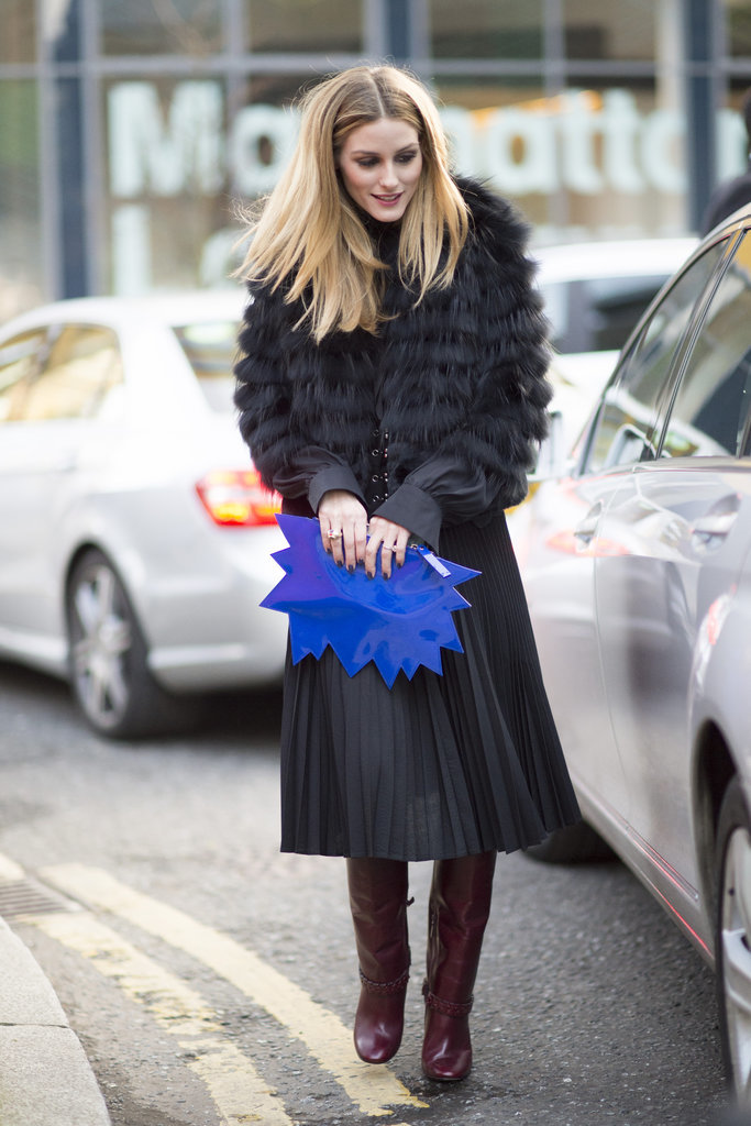 berry-boots-burgundy-riding-boots-pleated-skirts-black-midi-skirts-knife-pleats-graphic-clutch-fur-coat-work-outfit-lfw-street-style-psuk-olivia-palermo