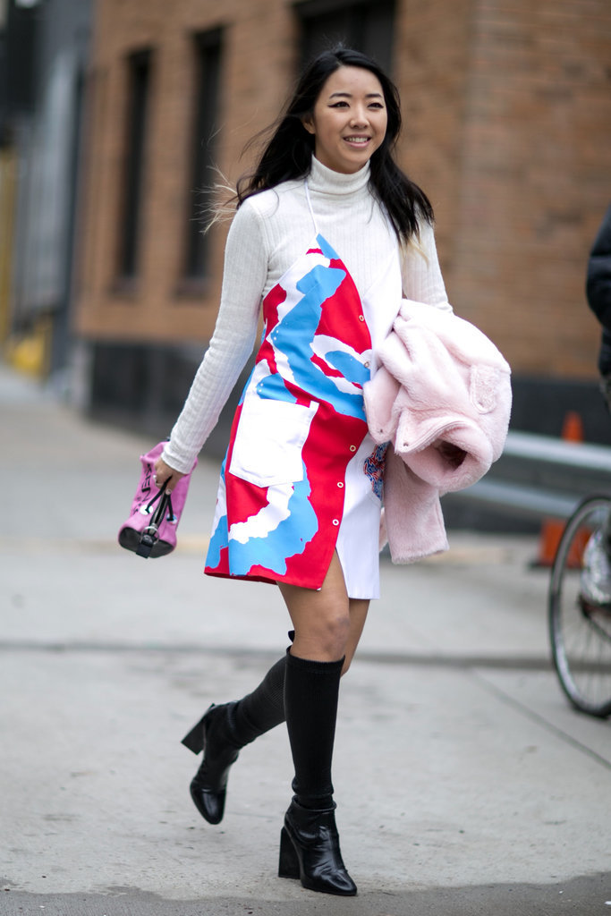 summer-dress-in-winter-sundress-slip-dress-knee-sock-boots-knee-boots-turtleneck-under-dress-nyfw-street-style-ps